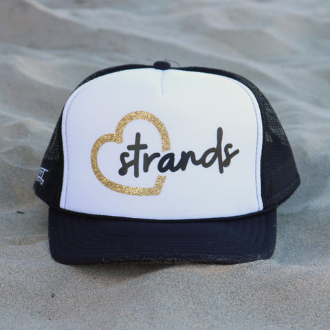Heart Strands Beach Trucker Hat - White / Black / Gold