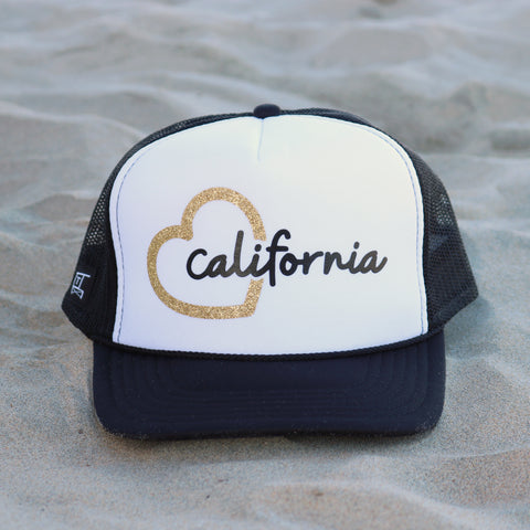 Heart California Trucker Hat - White / Black / Gold