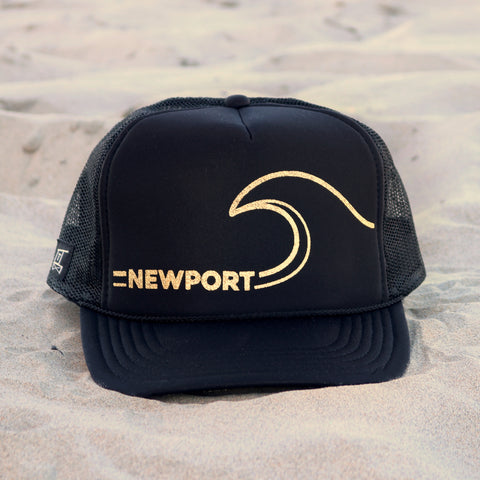 Newport Beach Wave Hat - Black / Gold