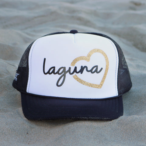 Heart Laguna Beach Trucker Hat - White / Black / Gold