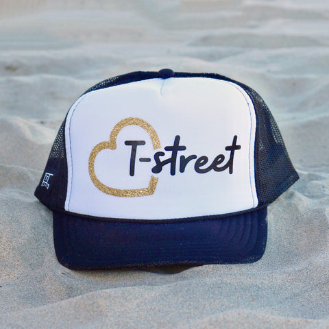 Heart T-Street Beach Trucker Hat - White / Black / Gold