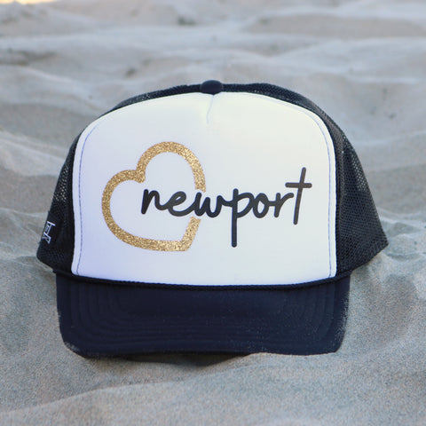 Heart Newport Beach Trucker Hat - White / Black / Gold