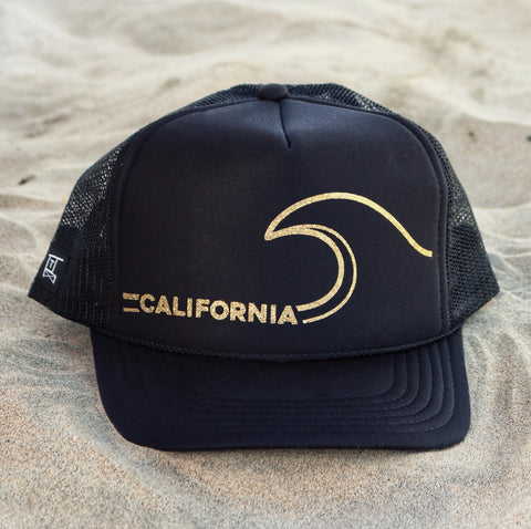 California Gold Wave Hat - Black / Gold