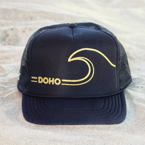 Doho (Doheny) Beach Wave Hat - Black / Gold
