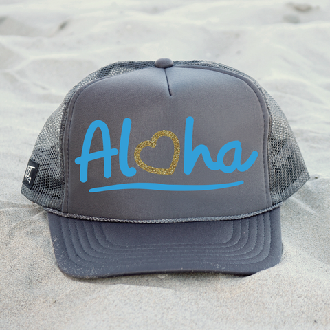 Aloha Hat - Charcoal / Blue / Gold
