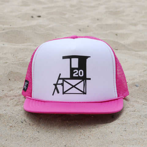 Newport Beach Lifeguard Tower Hat - Raspberry / White / Black