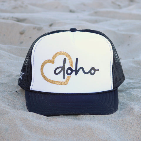 Heart Doho Beach Trucker Hat - White / Black / Gold