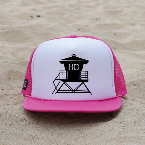 Huntington Beach Pier Lifeguard Tower Hat - White / Raspberry