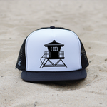 Huntington Beach Pier Lifeguard Tower Hat - White / Black