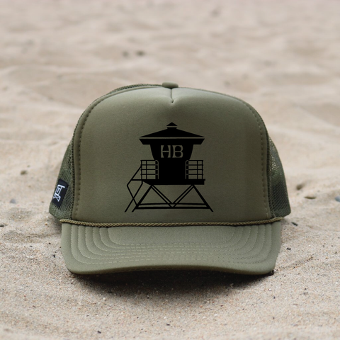 Huntington Beach Pier Lifeguard Tower Hat - Olive / Black
