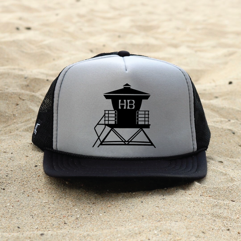 Huntington Beach Pier Lifeguard Tower Hat - Gray / Black