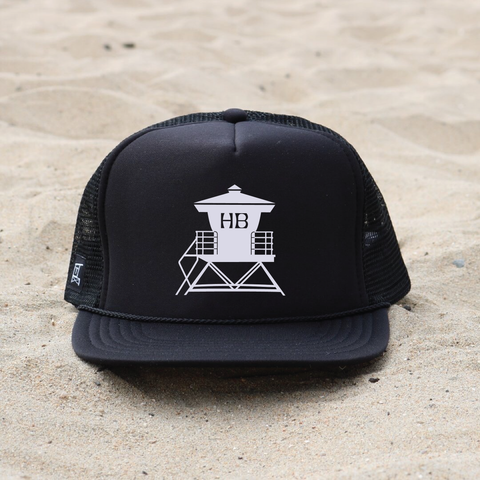Huntington Beach Pier Lifeguard Tower Hat - Black / White