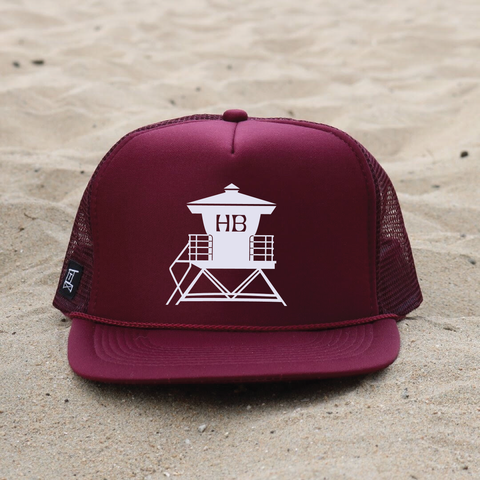 Huntington Beach Pier Lifeguard Tower Hat - Maroon / White