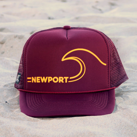 Newport Beach Wave Hat - Maroon / Mustard