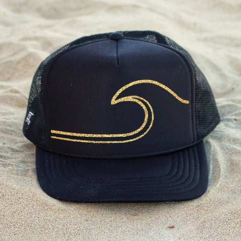 Gold Wave Hat - Black / Gold