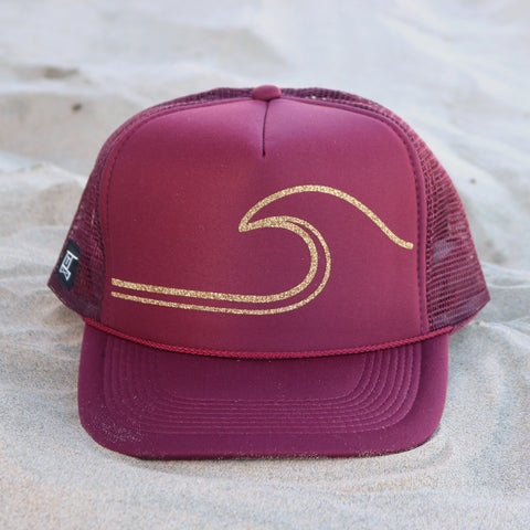 Gold Wave Hat - Maroon / Gold