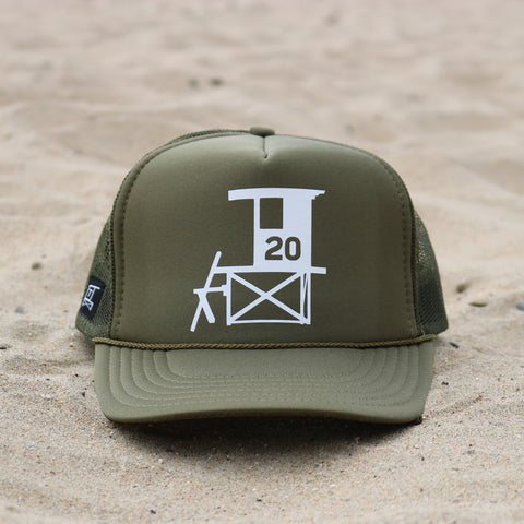 Newport Beach Lifeguard Tower Hat - Olive / White