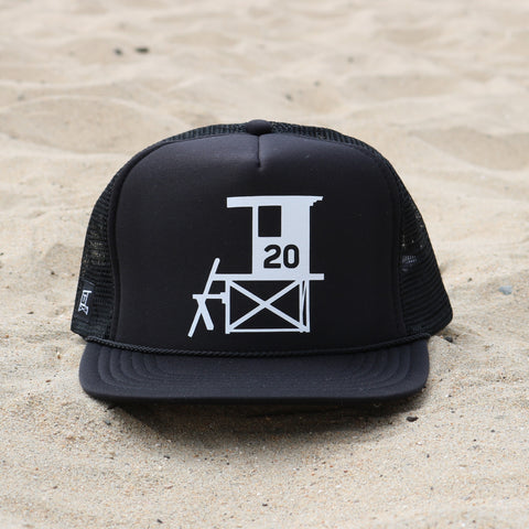 Newport Beach Lifeguard Tower Hat - Black / White