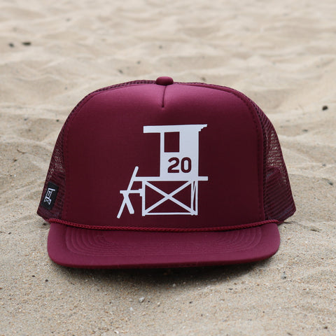 Newport Beach Lifeguard Tower Hat - Maroon / White