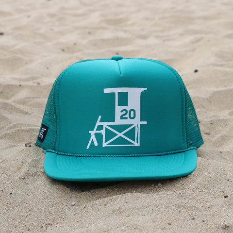 Newport Beach Lifeguard Tower Hat - Teal / White