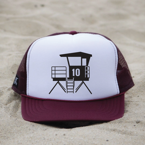 Huntington Beach City Lifeguard Tower Hat - White / Maroon