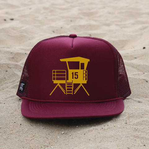 Huntington Beach City Lifeguard Tower Hat - Maroon / Mustard