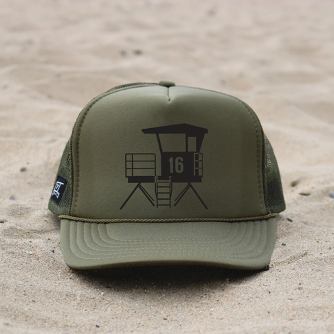 Huntington Beach City Lifeguard Tower Hat - Olive / Black