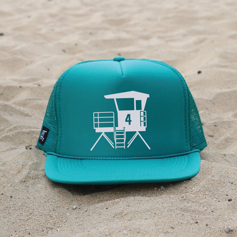 Huntington Beach City Lifeguard Tower Hat - Teal / White