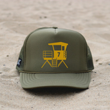 Huntington Beach City Lifeguard Tower Hat - Olive / Mustard