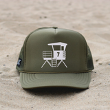 Huntington Beach City Lifeguard Tower Hat - Olive / White
