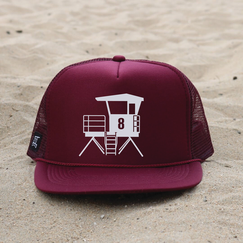 Huntington Beach City Lifeguard Tower Hat - Maroon / White