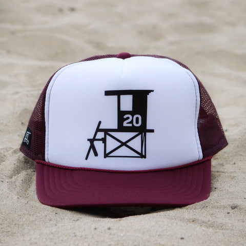Newport Beach Lifeguard Tower Hat - Maroon / White / Black