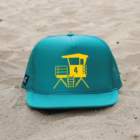 Huntington Beach City Lifeguard Tower Hat - Teal / Mustard