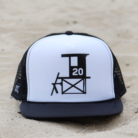 Newport Beach Lifeguard Tower Hat - Black / White / Black