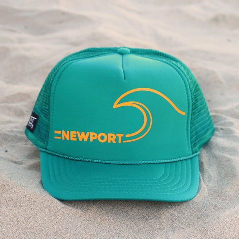 Newport Beach Wave Hat - Teal / Mustard
