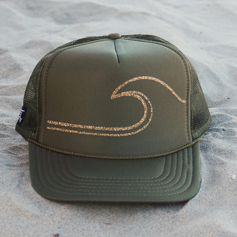Gold Wave Hat - Olive / Gold