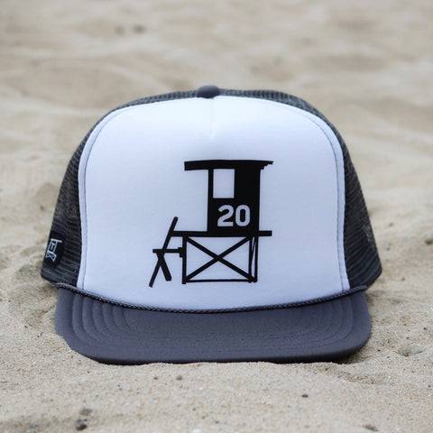 Newport Beach Lifeguard Tower Hat - Charcoal Gray / White / Black