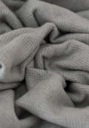 Recycled Wool Blanket in Silver Herringbone