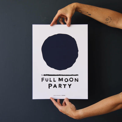 Full Moon Navy Print
