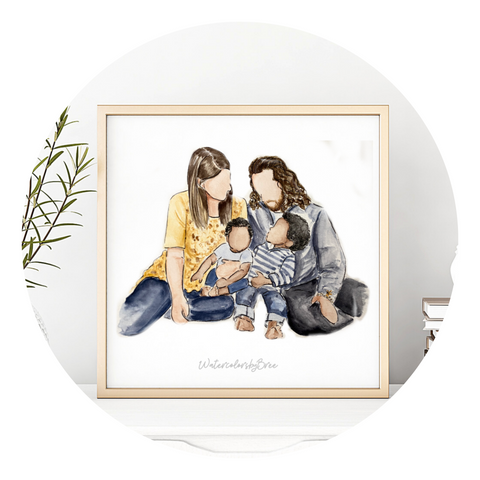 Family Portraits hand painted watercolor