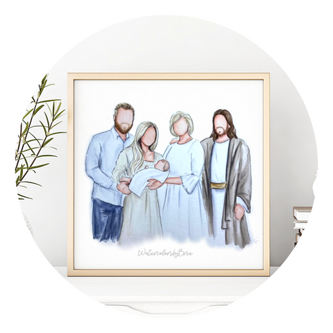 Portraits with Christ hand painted watercolor