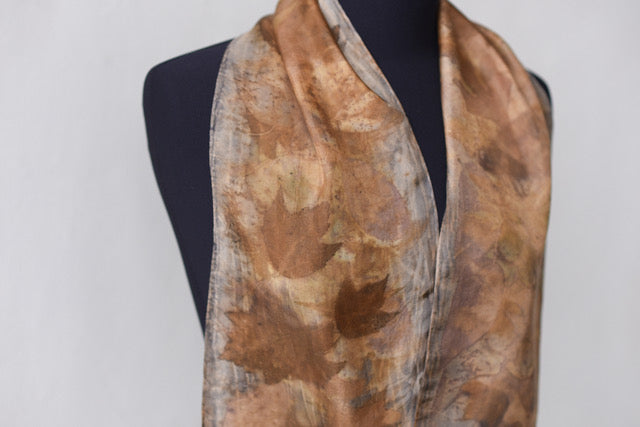 LEAF MEDLEY ON LOGWOOD DYED SILK