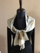 Load image into Gallery viewer, SILK CHIFFON SCARF WITH MAPLE LEAVES