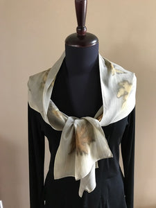 SILK CHIFFON SCARF WITH MAPLE LEAVES