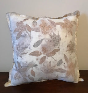 A MIX OF LEAVES ON RAW SILK PILLOW