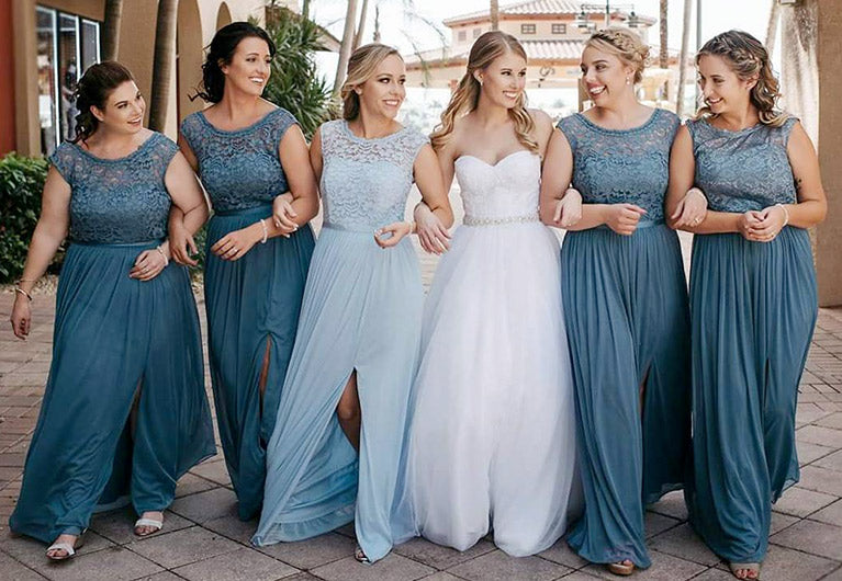 Petals and Promises Prom in Logan Utah loves to help our brides pick out their bridesmaid colors and dresses for maid of honor and mother of the bride, we have dresses coordinating in navy, dusty blue, dusty blush pink, burgundy, white, cream, lace