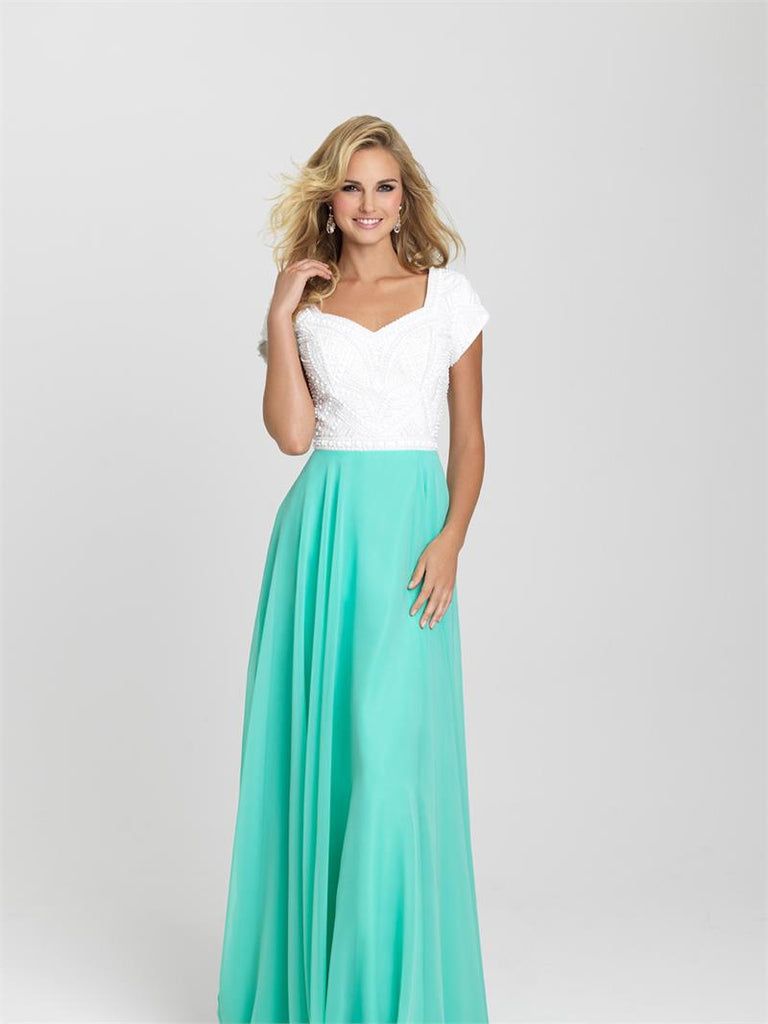 White and Aqua Modest Beaded Bodice Dress - Size 16