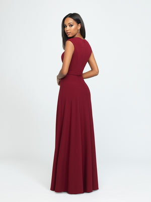 Burgundy Cap Sleeve A-Line Dress