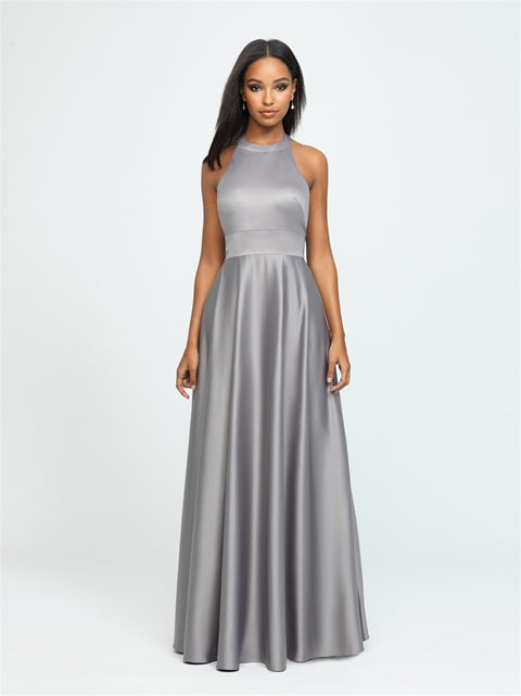 Silver Grey Halter Satin Dress