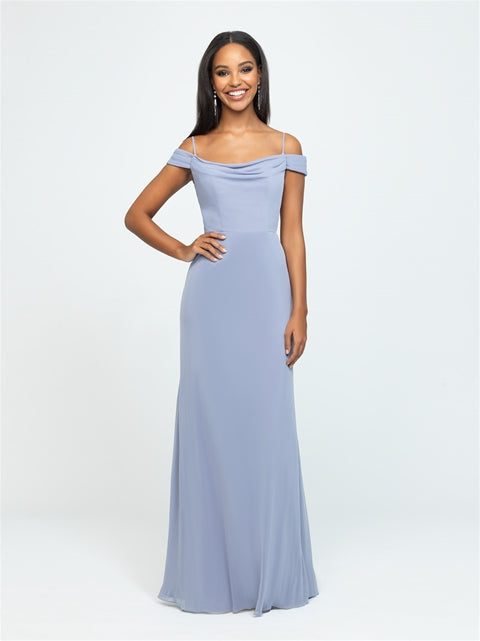 Smoke Gray Off Shoulder Draped Dress